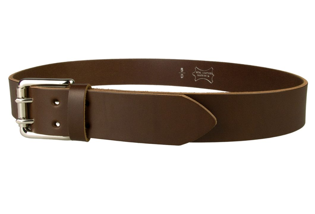Leather Jeans Belt - Double Prong Roller Buckle | Brown | Nickel Plated Solid Brass Double Prong Roller Buckle | 39 cm Wide 1.5 inch | Italian Full Grain Vegetable Tanned Leather | Made In UK | Left Facing Image