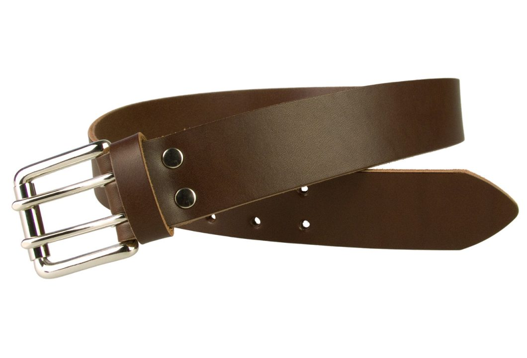 Leather Jeans Belt - Double Prong Roller Buckle | Brown | Nickel Plated Solid Brass Double Prong Roller Buckle | 39 cm Wide 1.5 inch | Italian Full Grain Vegetable Tanned Leather | Made In UK | Open Image 2