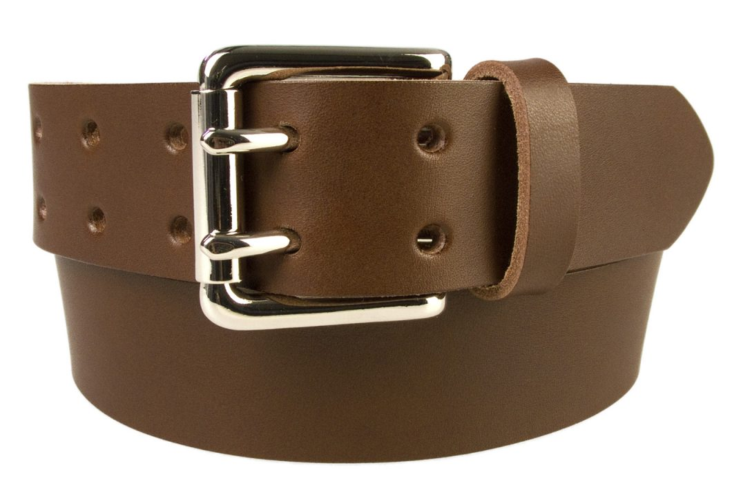 Leather Jeans Belt - Double Prong Roller Buckle | Brown | Nickel Plated Solid Brass Double Prong Roller Buckle | 39 cm Wide 1.5 inch | Italian Full Grain Vegetable Tanned Leather | Made In UK | Front Rolled Image