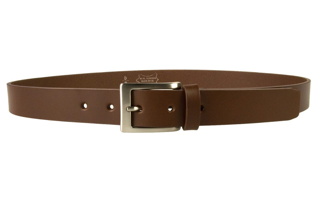 Mens High Quality Brown Leather Belt Made in UK | 30mm Wide | Hand Brushed Nickel Plated Buckle | Made In UK | Front Image