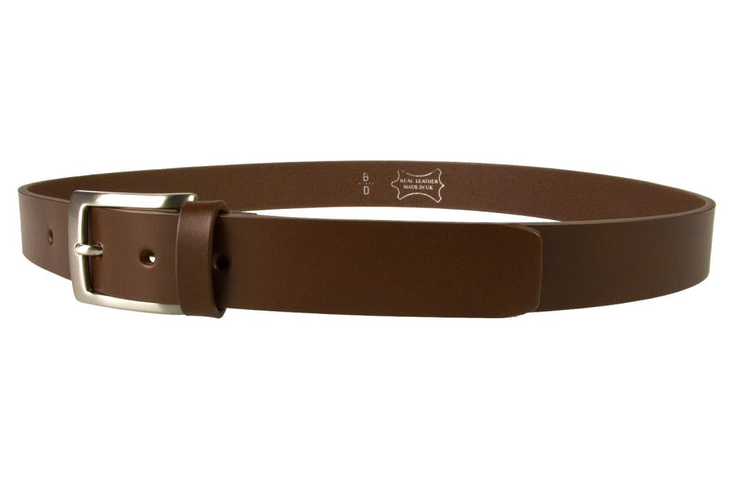 Mens High Quality Brown Leather Belt Made in UK | 30mm Wide | Hand Brushed Nickel Plated Buckle | Made In UK | Left Facing Image