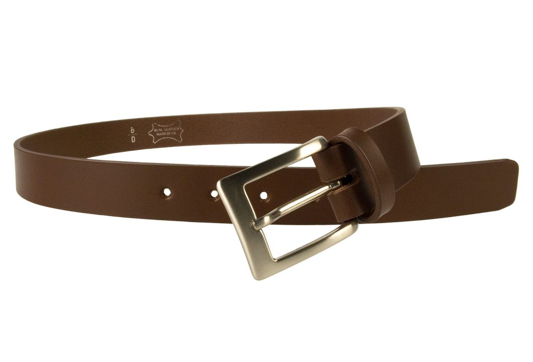 Mens High Quality Brown Leather Belt Made in UK | 30mm Wide | Hand Brushed Nickel Plated Buckle | Made In UK | Open Image 1