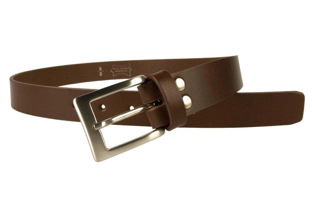 Mens High Quality Brown Leather Belt Made in UK | 30mm Wide | Hand Brushed Nickel Plated Buckle | Made In UK | Open Image 3