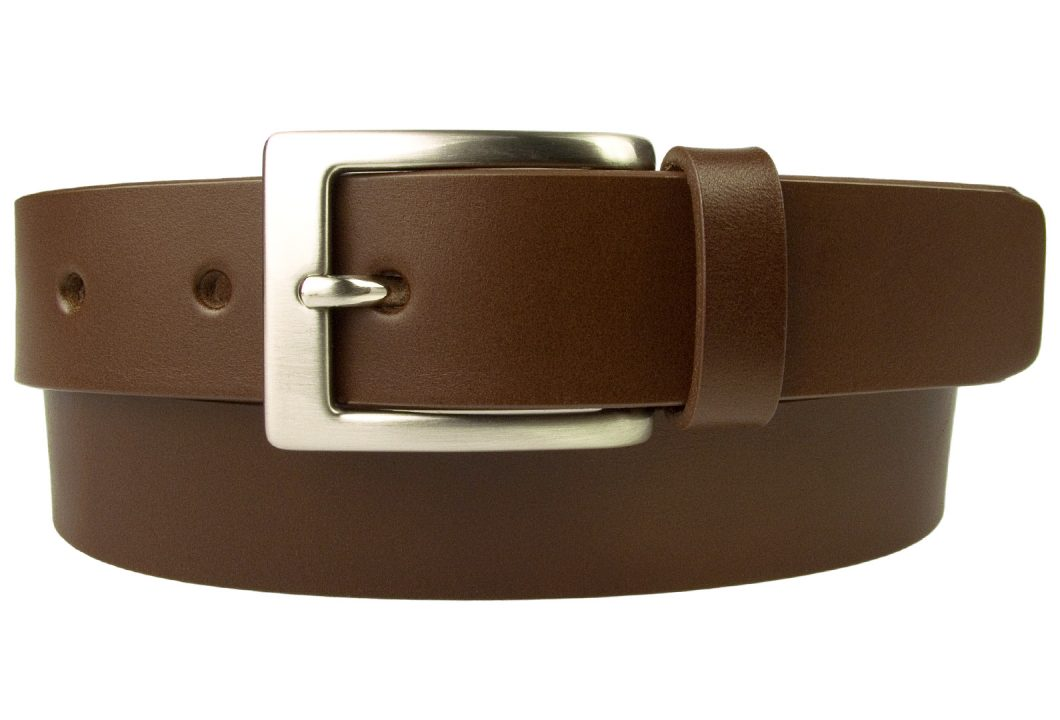 Mens High Quality Brown Leather Belt Made in UK | 30mm Wide | Hand Brushed Nickel Plated Buckle | Made In UK | Rolled Front Image