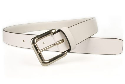 White Leather Belt - UK MADE - Black Contrasting Edge. 3cm wide. Italian Vegetable Tanned Leather. Approx. 3.5mm thick. Nickel Plated Solid Brass Roller Buckle (silver in colour).