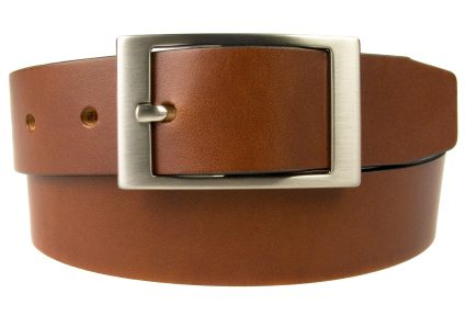 Tan Leather Belt British Made, 3.5cm Wide, Made In UK, Real Leather, Full Grain Italian Leather, 4mm Thick Approx, Italian Hand Brushed Matt Nickel Buckle, Center Bar Whole Buckle, Rolled Front View