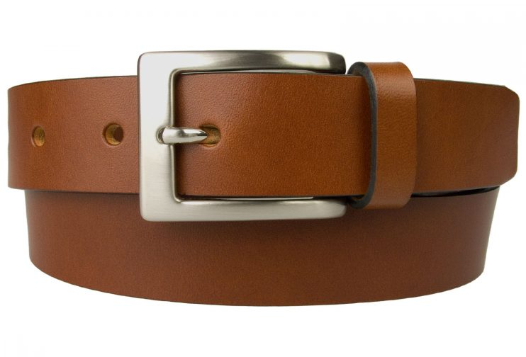 Tan Leather Belt UK Made 3cm Wide, 100% Italian Leather, Natural Full Grain Leather with Black Edge Finishing, Italian Hand Brushed Nickel Plated Buckle, Leather thickness approx. 4mm