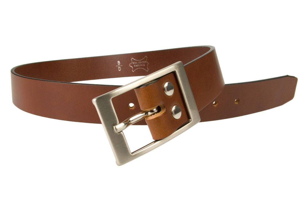 Tan Leather Belt British Made, 3.5cm Wide, Made In UK, Real Leather, Full Grain Italian Leather, 4mm Thick Approx, Italian Hand Brushed Matt Nickel Buckle, Center Bar Whole Buckle, Open Image 1