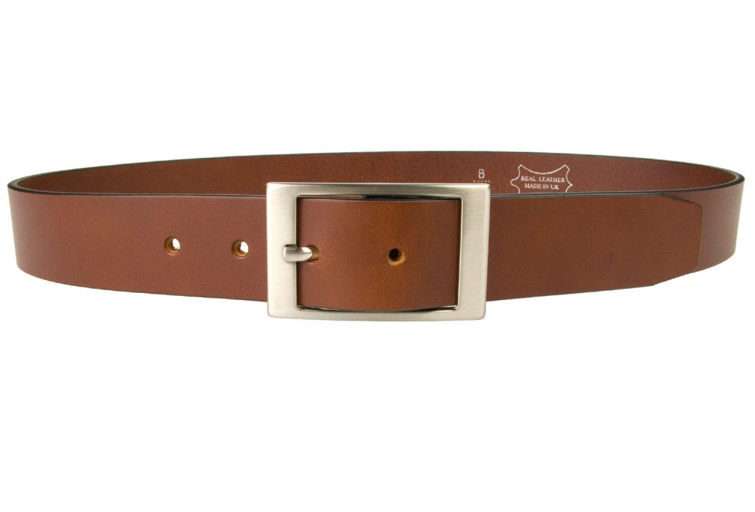 Tan Leather Belt British Made, 3.5cm Wide, Made In UK, Real Leather, Full Grain Italian Leather, 4mm Thick Approx, Italian Hand Brushed Matt Nickel Buckle, Center Bar Whole Buckle, Front View