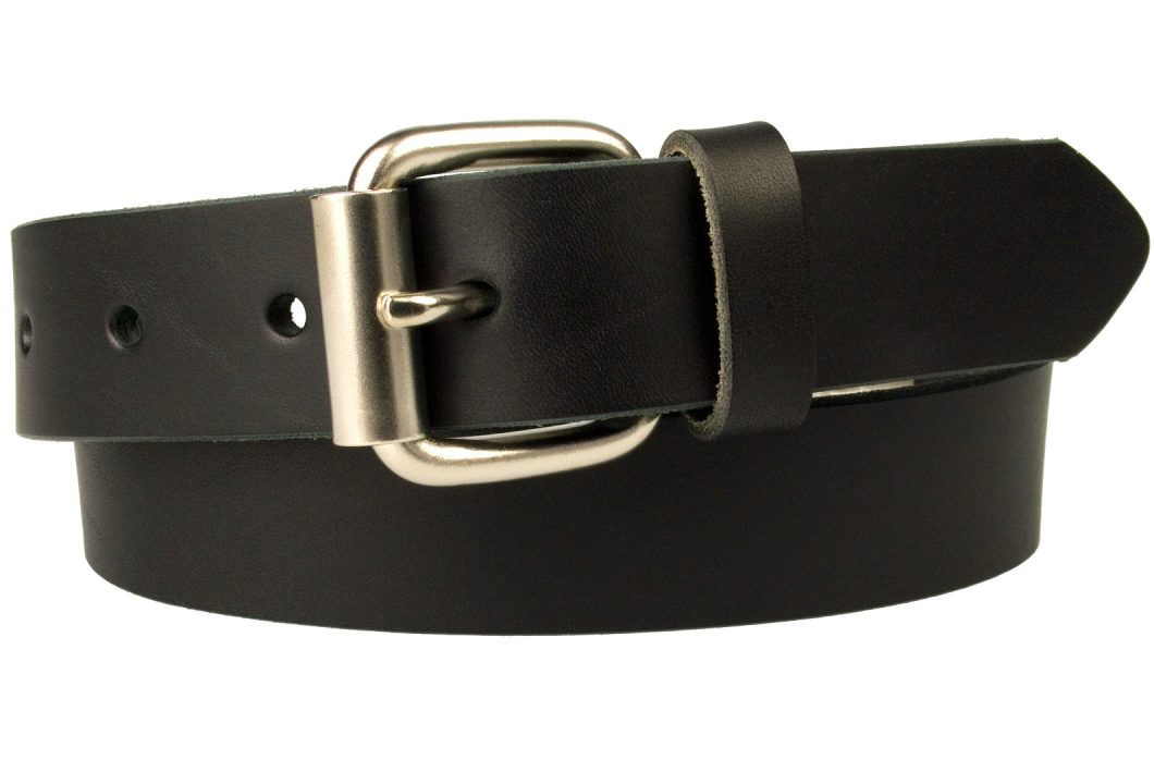 Mens Narrow Black Leather Jeans Belt - 3cm Wide - Black - Made In UK. Satin Nickel Plated Roller Buckle (silver tone)
