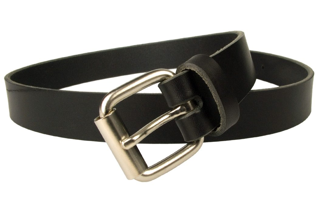 Mens Narrow Black Leather Jeans Belt - 3cm Wide - Black - Made In UK. Satin Nickel Palted Roller Buckle (silver tone)
