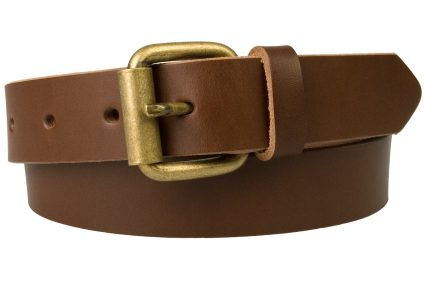 Mens Narrow Leather Jeans Belt - 3cm Wide - Brown - Made In UK. 'Old Brass' Look Roller Buckle.