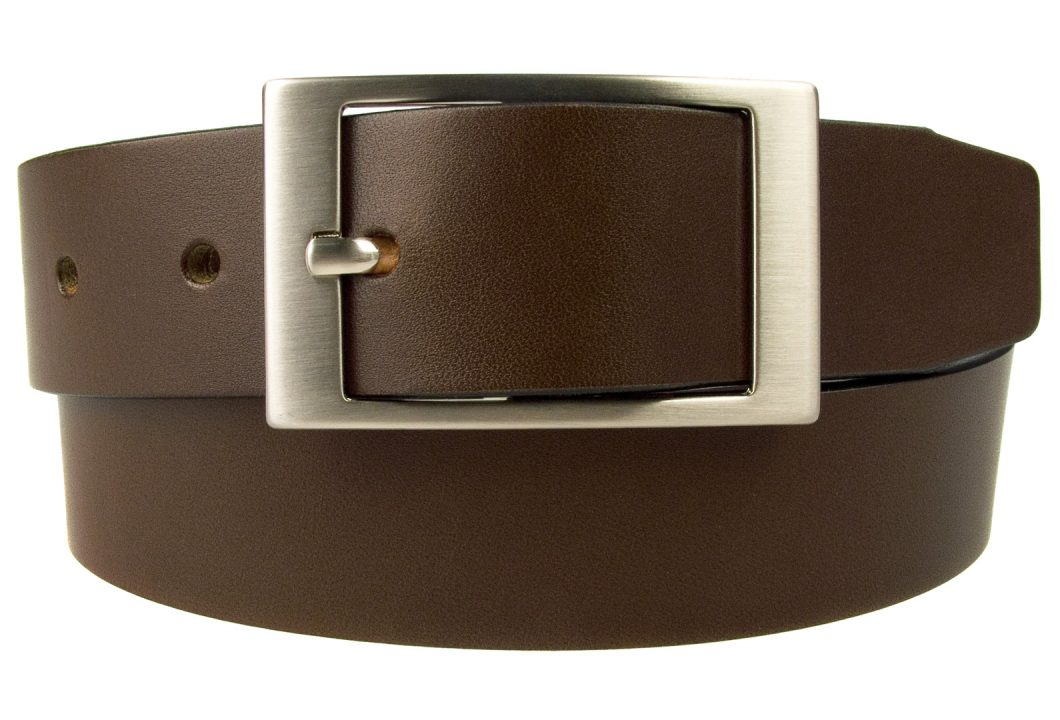 Dark Havana Brown Leather Belt, British Made Leather Belt, Italian Full Grain Leather, Italian Made Hand Brushed Nickel Plated and Lacquered Buckle, Long Lasting High Quality Leather Belt made by Skilled British Craftsmen. 3.5cm Wide. Whole Buckle with Center Bar. 4mm thick leather.