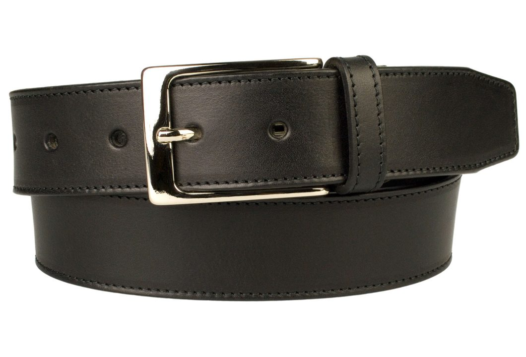 British Stitched Edge Black Leather Suit Belt 3.5 cm Wide