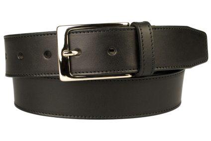 British Stitched Edge Black Leather Suit Belt 3.5 cm Wide