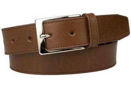 British Stitched Edge Brown Leather Suit Belt 3.5 cm Wide
