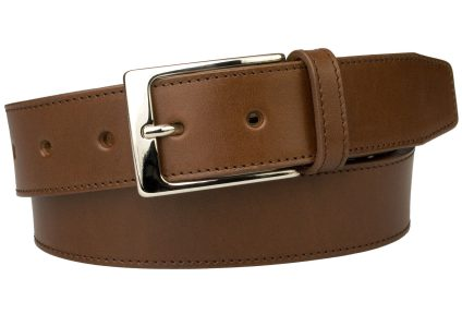 British Stitched Edge Brown Leather Suit Belt 3.5 cm Wide
