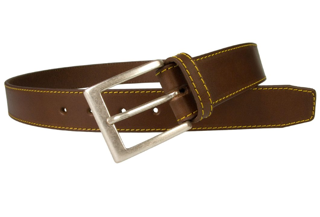 Brown Leather Belt With Yellow Stitiching Aged Silver Plated Buckle. 3.5 cm Wide. Made In UK With Italian Full Grain Vegetable Tanned Leather and Italian Made Buckle. Strong Long Lasting German Made Thread. Teams well with Jeans, Smart Moleskin trousers or Chinos.