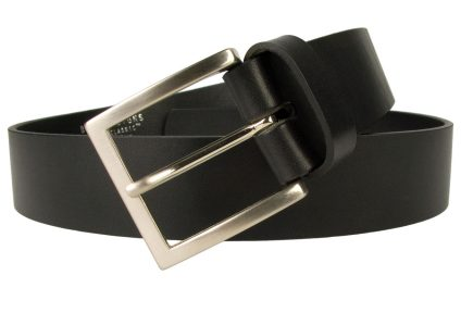 Mens Black Leather Jean Belt 4cm Wide. Made In UK By British Craftsmen, Superior Quality Full Grain Italian Leather. Approximately 4mm thick. Italian Made Nickel Plated Buckle.