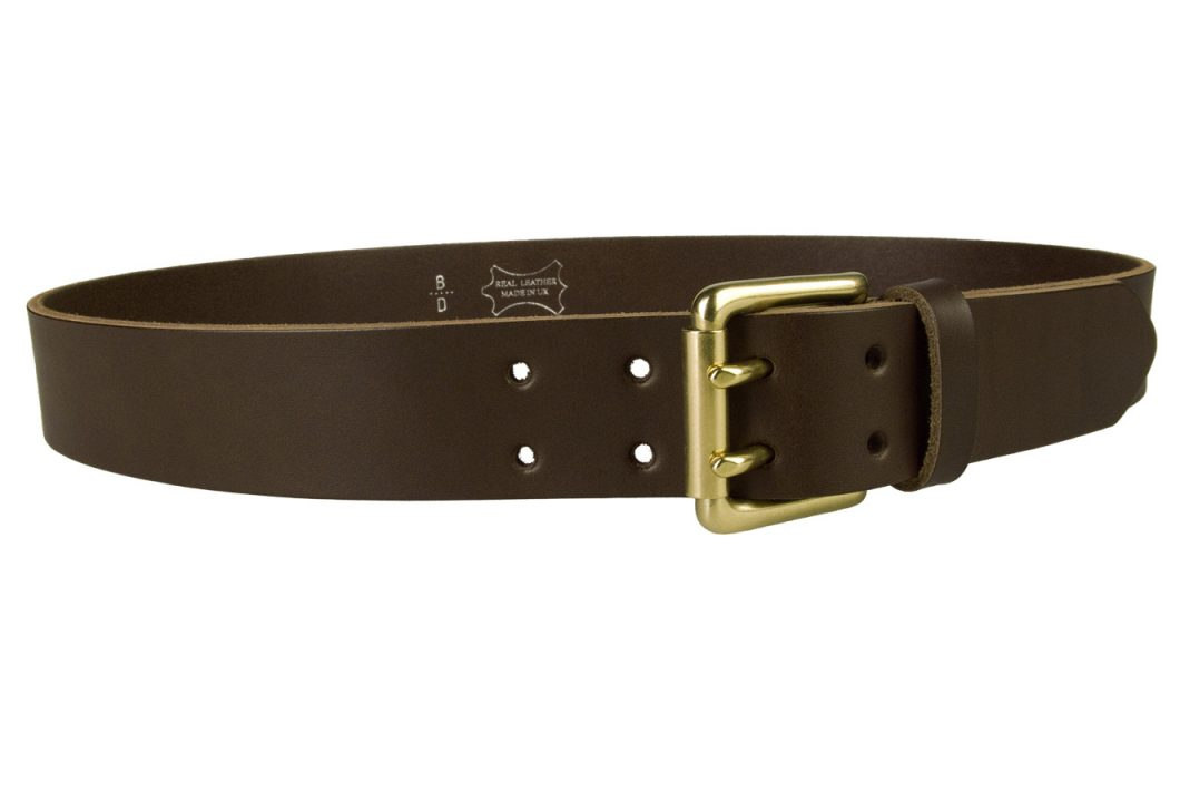 Dark Brown Jeans Belt With Solid Brass Buckle.