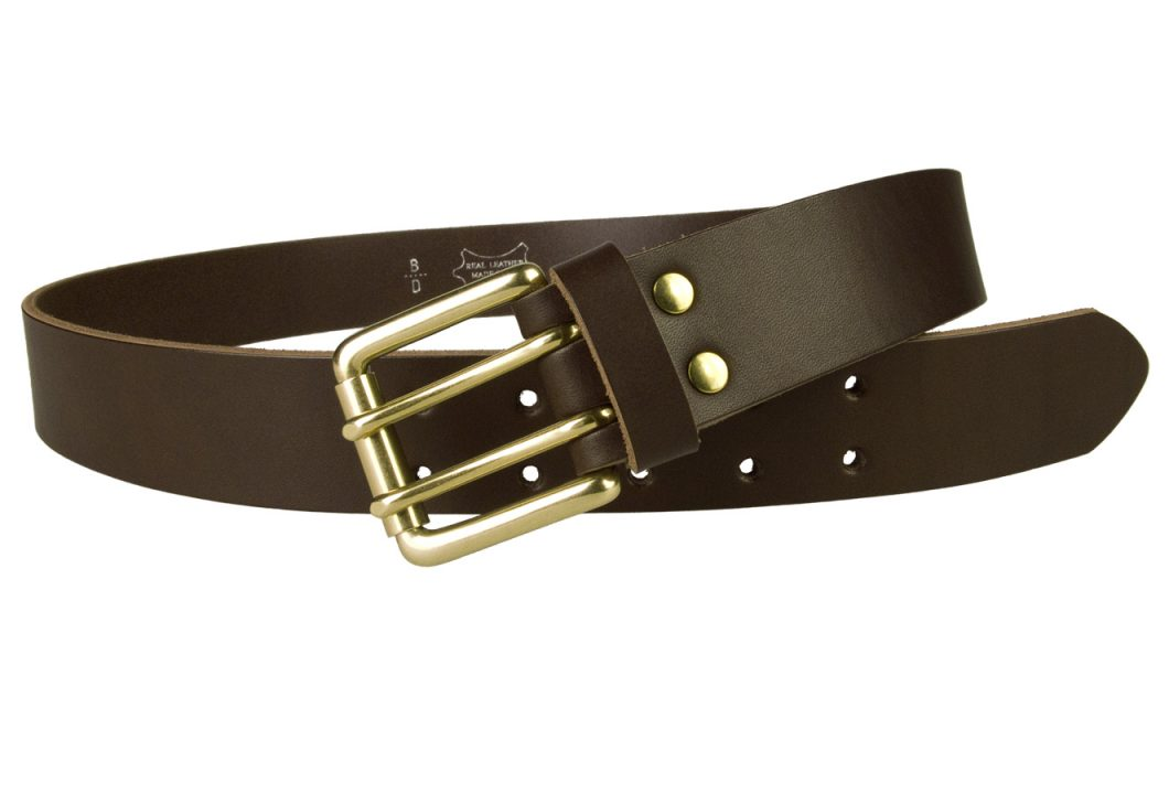 Dark Brown Jeans Belt With Solid Brass Buckle
