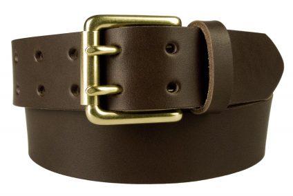 Dark Brown Jeans Belt With Solid Brass Buckle