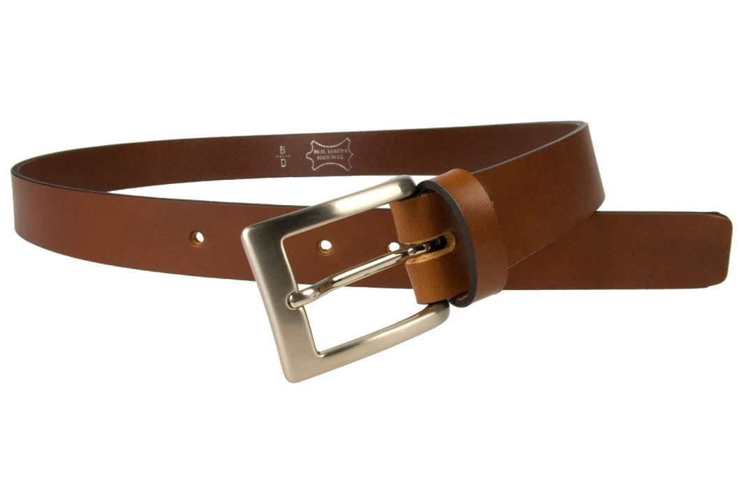 Tan Leather Belt UK Made 3cm Wide, High Quality Italian Full Grain Leather, Italian Hand Brushed Nickel Plated Buckle, Fixed Leather Keeper/ Loop. Leather Approximately 4mm thick.