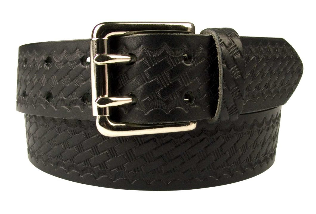 American Style Basketweave Embossed Leather Duty Belt MADE IN UK | Black | Nickel Plated Solid Brass Double Prong Roller Buckle | 39 cm Wide 1.5 inch | Italian Full Grain Vegetable Tanned Leather | | Front Rolled Image