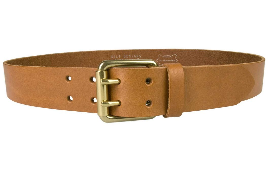 Light Tan Leather Jeans Belt With Solid Brass Buckle, 4cm Wide, Two Prong Roller Buckle, Italian Full Grain Leather, Leather Approx. 3.5 - 4mm thick. Made In UK by British Craftsmen