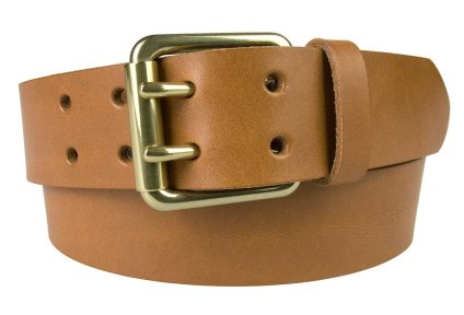 Light Tan Leather Jeans Belt With Solid Brass Buckle, 4 cm Wide, Two Prong Roller Buckle, Italian Full Grain Leather, Made In UK by British Craftsmen
