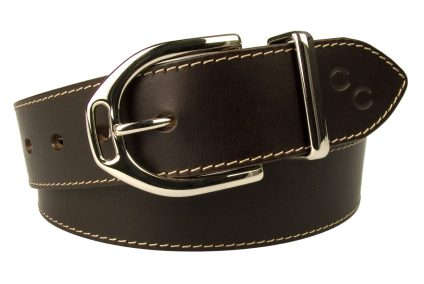 Womens Stirrup Buckle Belt. High Shine Nickel Plated Solid Brass Buckle and matching metal Keeper. Contrasting Oat coloured Stitched Edge. Dark Havana Brown Italian Full Grain Vegetable Tanned Leather. 4 cm Wide. Leather thickness Approx 3.5 mm.
