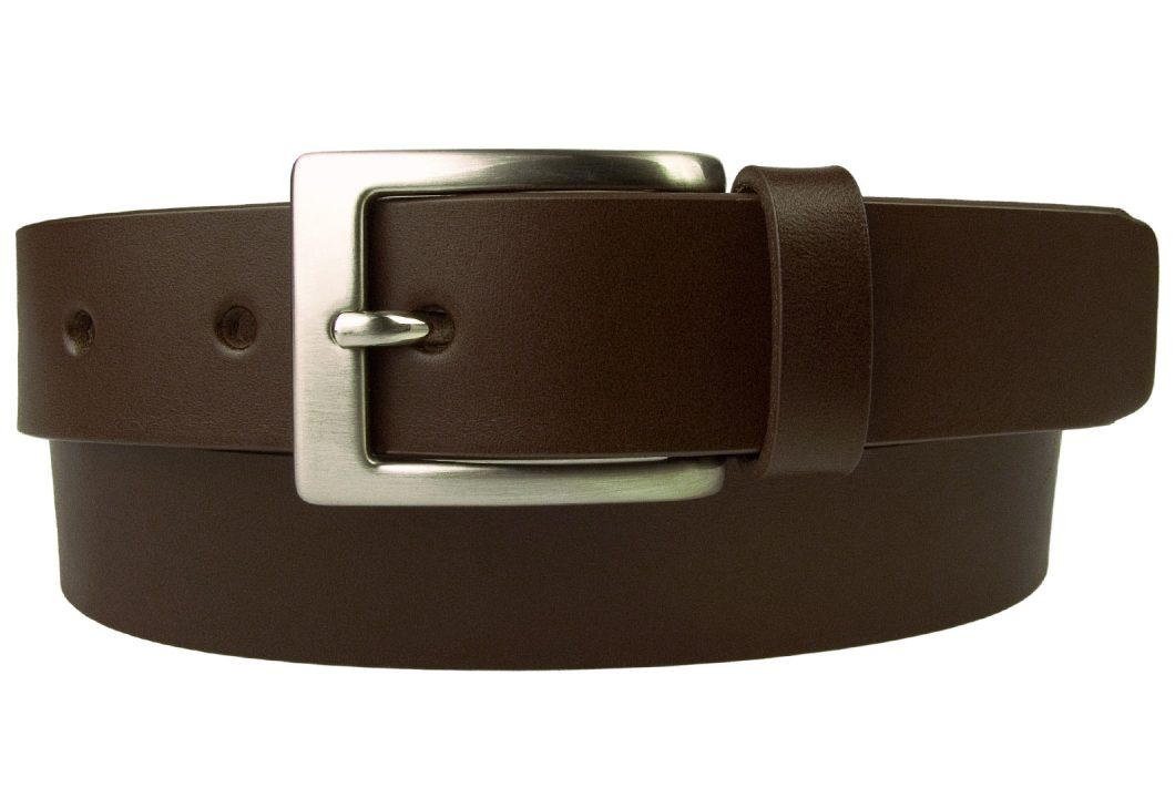 Mens Leather Belt in Dark Brown Italian vegetable tanned leather. Ideal for suits and chinos and smart casual trousers. A high quality leather belt with a clean simple design. Made in UK by British craftsmen. 3cm Wide With Hand Brushed and Lacquered Nickel Plated Buckle