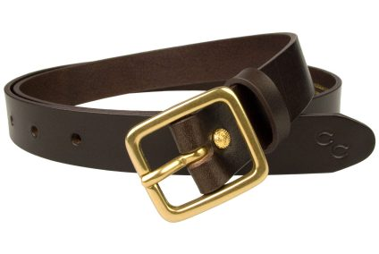 Dark Brown Narrow Leather Belt With Solid Brass Buckle. High quality Italian full grain vegetable tanned leather. 2.5cm Wide (1 inch). Free Sliding Loop. Ornate golf plated rivet closure. Champion Chase Double Horse Shoe Motif to tip of belt. Made In UK by British Craftsmen.