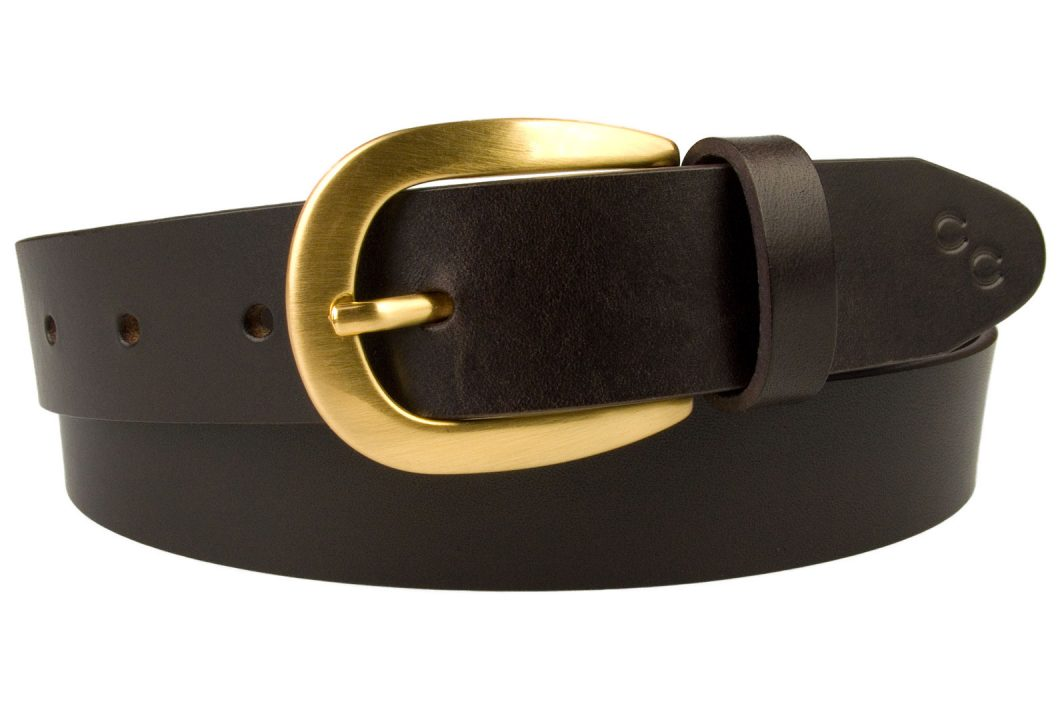 Dark Havana Brown Leather Belt Horse Shoe Motif. Made In UK. Elegant 3cm wide leather belt. Italian full grain vegetable tanned leather. Champion Chase Horse Shoe Motif.