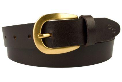 Dark Havana Brown Leather Belt Horse Shoe Motif. Made In UK. Elegant 3cm wide leather belt. Italian full grain vegetable tanned leather. Champion Chase Horse Shoe Motif.
