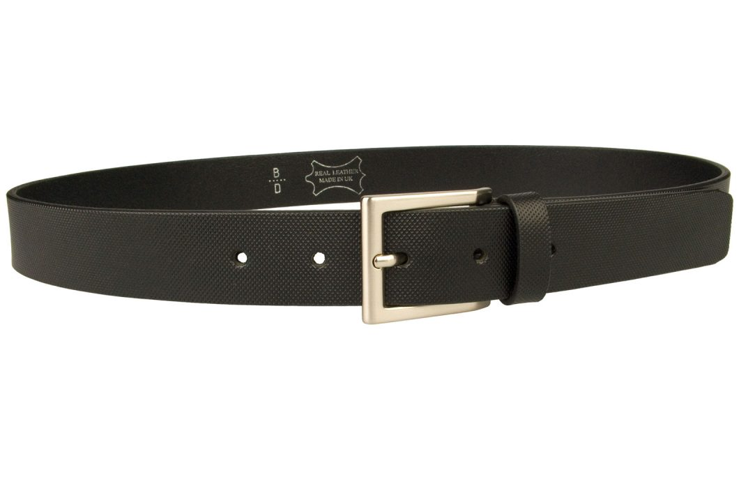 Geometric Embossed Leather Belt. Black Leather Belt 3cm Wide. Ideal For Suits and Smart Trousers. Made with Italian Full Grain Vegetable Tanned Leather. Italian made hand brushed nickel plated buckle. Made In UK By British Craftsmen. Long Lasting 4mm thick leather.