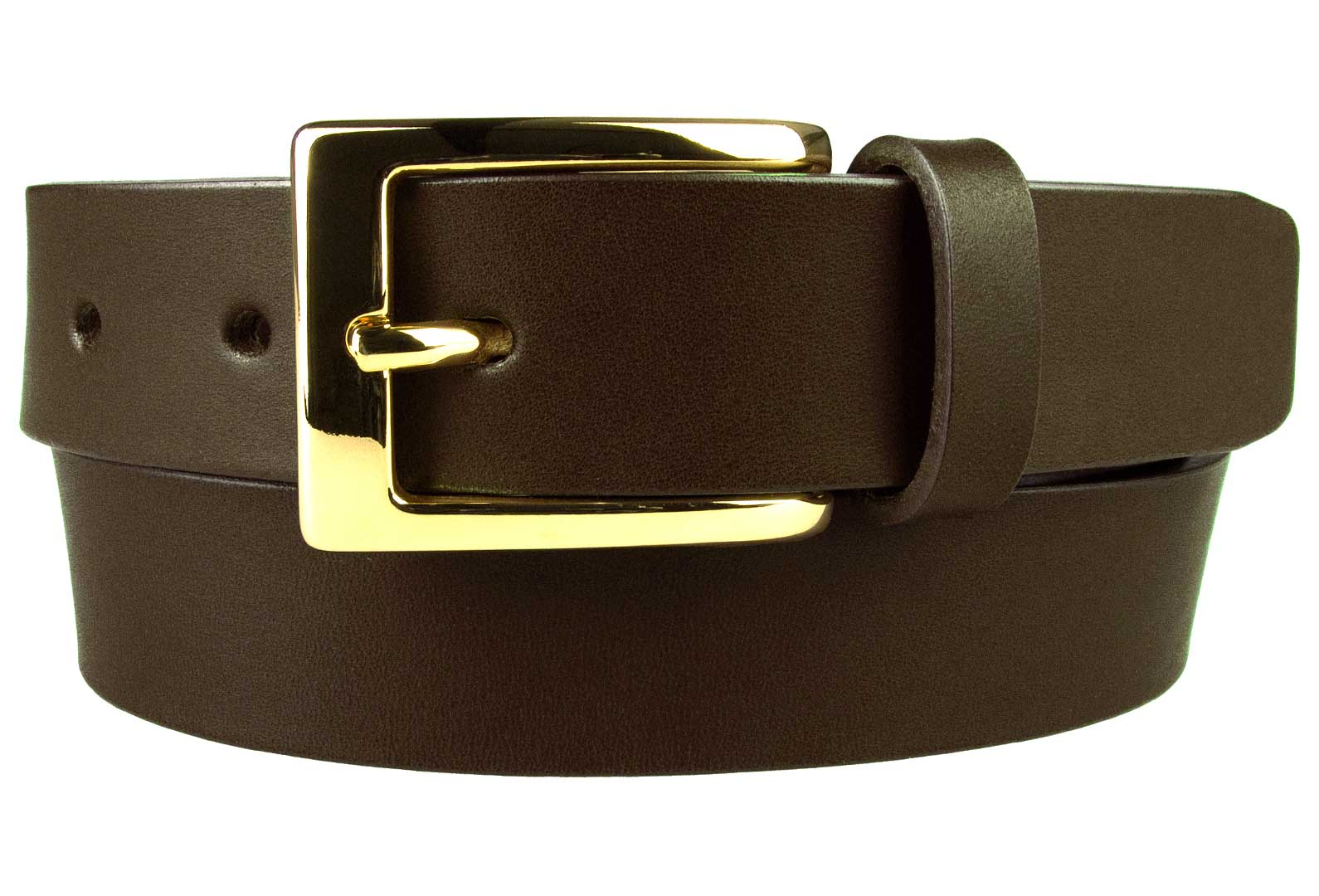 Mens Dark Brown Leather Belt With Gold Buckle
