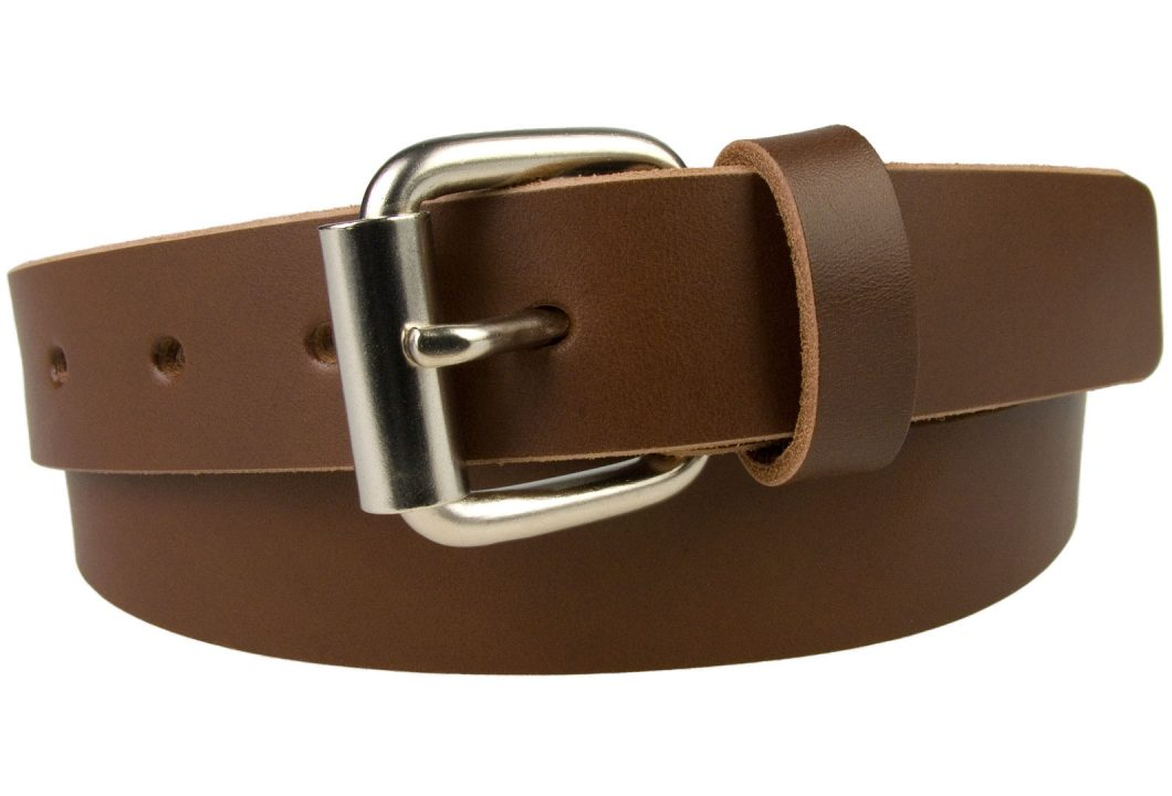 Mens Narrow Leather Jeans Belt - Made In UK. 3 cm Wide Brown Leather Belt. 100% Pure Italian vegetable tanned leather. Approx. 3.5 - 4mm thick and 3cm Wide. Matt Nickel Roller Buckle.