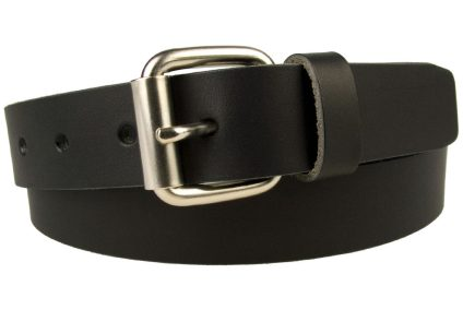Mens Narrow Black Leather Jeans Belt - Made In UK - 3cm Wide. Black 100% Pure italian vegetable tanned leather. Approx. 3.5 - 4mm thick and 3cm Wide. Satin Nickel Plated Roller Buckle