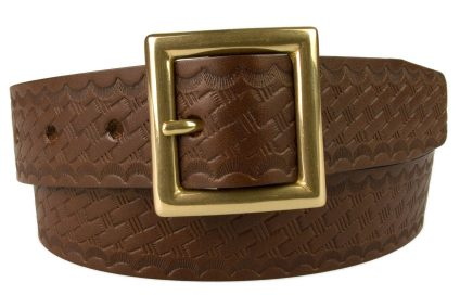 Embossed Brown Leather Belt With Solid Brass Garrison Buckle. Made In UK By British Craftsmen. High Quality Italian Made Solid Brass Buckle. Basket Weave Print Embossed onto Full Grain Italian Vegetable Tanned Leather. 3.5 cm Wide Leather Belt. Ideal for smart casual trousers. Strong Riveted Return and 5 adjustment Holes.