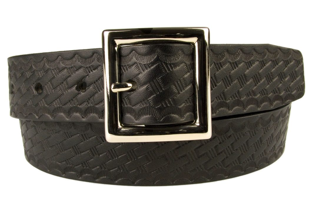 Embossed Garrison Buckle Belt 35mm Wide. Italian Made Nickel Plated Solid Brass Buckle. Full Grain Vegetable Tanned Leather with Embossed Basket Weave Print. 35mm Wide ( 13/8 inch ). Made In UK By British Craftsmen.