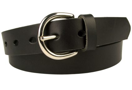 Womens Black Leather Belt Made In UK. Nickel Plated Solid Brass Buckle. Oval Shaped Holes. 3cm Wide. Full Grain Vegetable Tanned Leather. Leather Approx 3.5mm thick