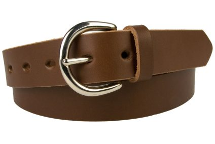 Womens Casual Brown Leather Trouser Belt. 3cm wide full grain womens casual brown leather trouser belt. Nickel Plated Solid Brass London 'D' Shaped Buckle. This Staple Leather Belt is ideal with Jeans or Casual Trousers. Oval shaped fastening holes. Made In UK with Italian Full Grain Leather. Also available in several other colours.