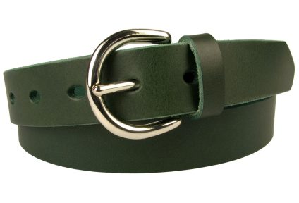 Womens Green Leather Belt 3cm Wide. Made In UK. Solid Brass Buckle With Nickel Plate (Silver in tone). Full Grain Vegetable Tanned Leather. 5 Oval shaped holes. Leather Thickness 3.5 cm Approx