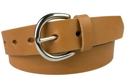Womens Light Tan Leather Jeans Belt. London 'D' Shaped Silver Tone Buckle (Nickel Plated Solid Brass). 3cm Wide Leather Belt Made In UK. Full Grain Vegetable Tanned Leather. 5 Oval Shaped Holes. Leather Thickness 3 cm Approx.