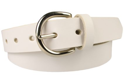 Womens White Leather Belt Full Grain Leather. Made In UK. 3cm Wide. London 'D' Shaped Buckle. (Nickel Plated Solid Brass). 5 Oval Shaped Holes. Leather Thickness 3.5mm Approx