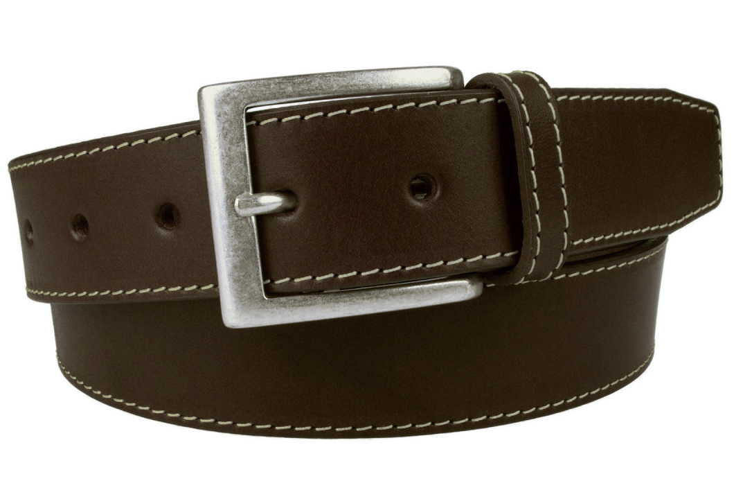 Brown Leather Belt With Contrasting Stitched Edge And Old Silver Plated Buckle. Made In UK. 3.5 cm Wide. Full Grain Vegetable Tanned Leather. Italian Made Buckle. Ideal With Moleskins or Jeans.