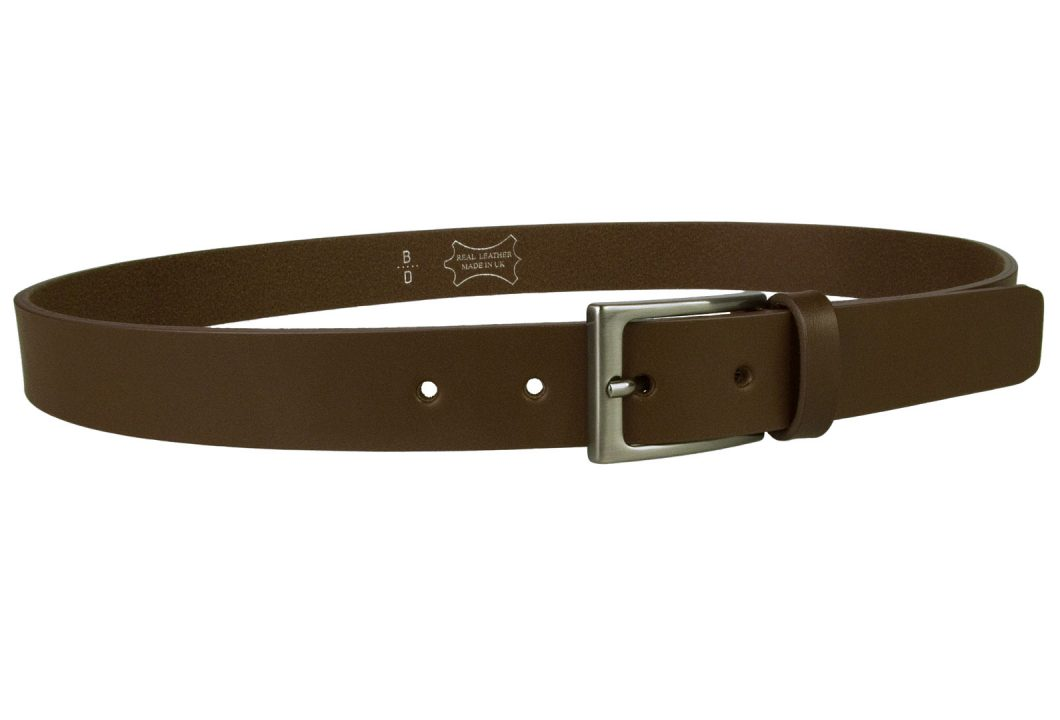 Dark Brown Leather Belt With Dark Grey Gun Metal Buckle. Made In UK By Skilled British Craftsmen. Dark Brown Italian Full Grain Vegetable Tanned Leather. Italian Made Hand Brushed and Lacquered Dark Grey Gun Metal Buckle. 3cm Wide. Strong Riveted Return.