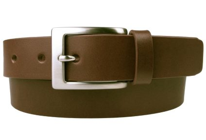 Dark Tan Mens Suit Belt British Made. 3cm Wide. Matt Nickel Buckle, Ideal With Blue Suits