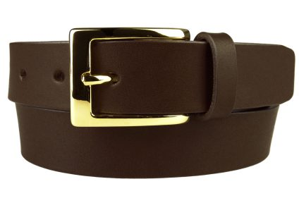 Mens Dark Brown Leather Belt With Gold Buckle, 3cm Wide. Made In UK By British Craftsmen. Italian made gold plated buckle. Italian Full Grain Vegetable Tanned Leather. Aproximately 4mm thick. 5 Adjustment holes.